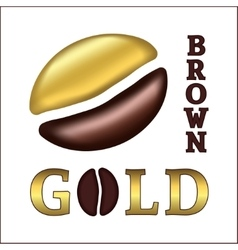 Golden coffee bean vector image