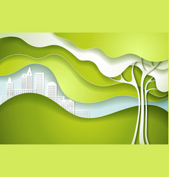 green tree eco nature concept city vector image