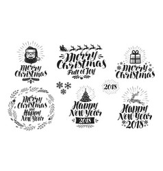 merry christmas or happy new year label set xmas vector image vector image