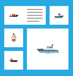 flat icon boat set of tanker cargo transport and vector image