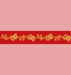 gold and red khokhloma seamless pattern vector image