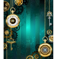 Jewelry watch on a green background vector
