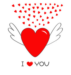 red heart with wings cute cartoon contour sign vector image vector image