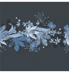 seamless horizontal floral blue pattern vector image