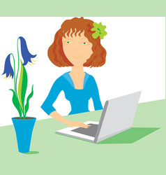 women with notebook and flowers vector image