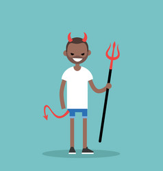 young black character wearing devil elements vector image vector image
