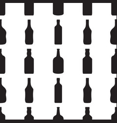 alcohol bottles seamless patternblack silhouettes vector image