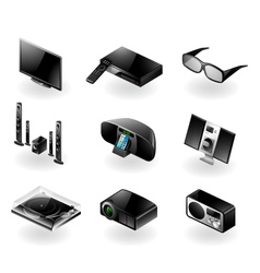 Electronics icon set - TV and audio vector image vector image