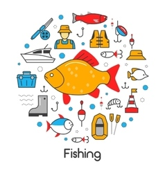 Fishing Line Art Thin Icons Set vector image