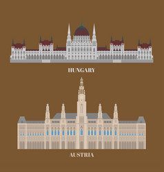 hungary and austria travel icons country vector image vector image