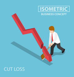 Isometric business cut falling graph by axe vector