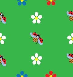 ladybug on flower seamless pattern vector image vector image