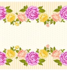 Rose frame invitation card vector image