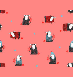 sheep knitting craft seamless pattern background vector image vector image
