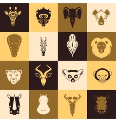 African animals icons vector image vector image