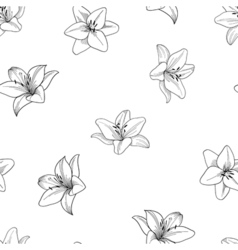 Black and white seamless pattern with lily vector image
