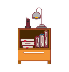 colorful graphic of nightstand with cordless phone vector image
