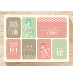 Cute pastel wedding invitation card background vector image vector image