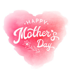 happy mothers day card with flower and lettering vector image vector image