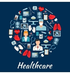 Healthcare and surgery icons in a circle shape vector image vector image
