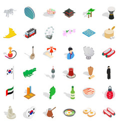 japanese culture icons set isometric style vector image vector image
