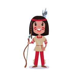 little boy wearing native american indian vector image vector image