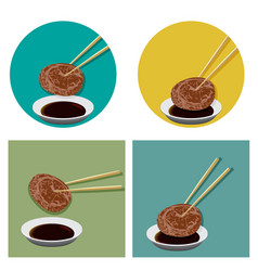 Piece of meat is holding with chopsticks and sauce vector
