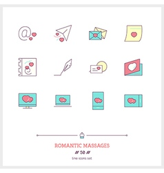 ROMANTIC MESSAGES Line Icons Set vector image vector image