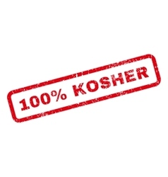 100 Percent Kosher Text Rubber Stamp vector