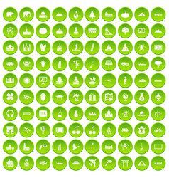 100 work space icons set green circle vector
