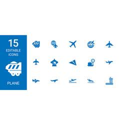 15 plane icons vector