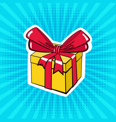 A box with a gift in pop art style vector