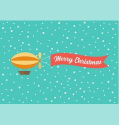 airship pulls banner with word merry vector image