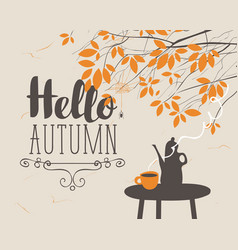 autumn landscape with cup and kettle on the table vector image