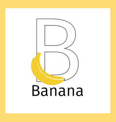 banana and letter b coloring page vector image