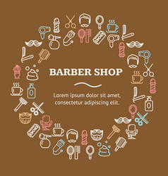 barber shop round design template line icon vector image