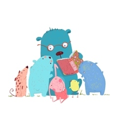 Bear reading book for group of animal kids vector