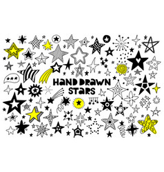 big set hand drawn stars on a white background vector image