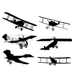 biplanes silhouettes vector image