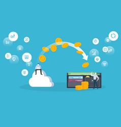 bitcoin cloud mining vector image