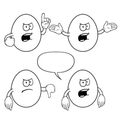Black and white angry egg set vector image