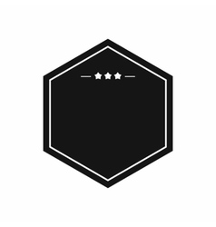 Black badge with three stars icon simple style vector image