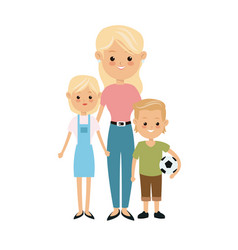 blonde mother and son daughter with soccer ball vector image