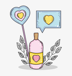 bottle love pills with chat bubble love message vector image