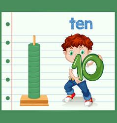 boy holding number zero vector image