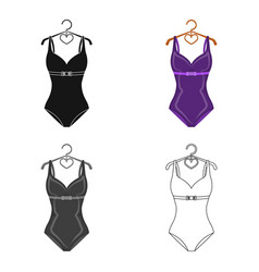 Bright purple swimsuit with bows for girlsbeach vector