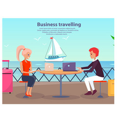 Business travelling man woman vector