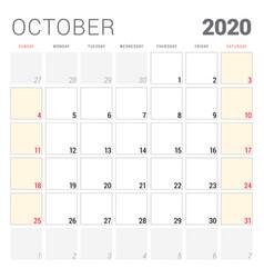 Calendar planner for october 2020 week starts vector