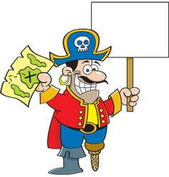 Cartoon pirate hodling a map and a sign vector image