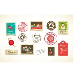 Christmas set vintage postage stamps vector